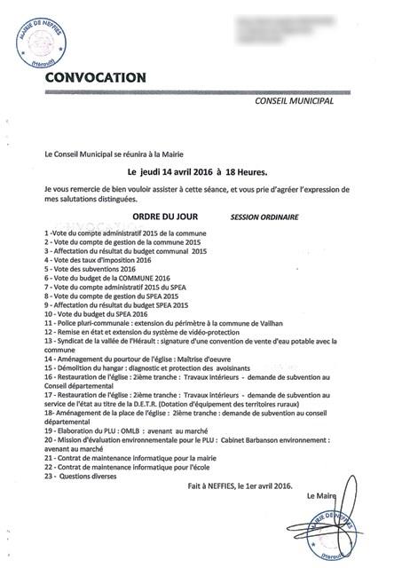 Le conseil municipal d'avril 2016 - Ordre du jour